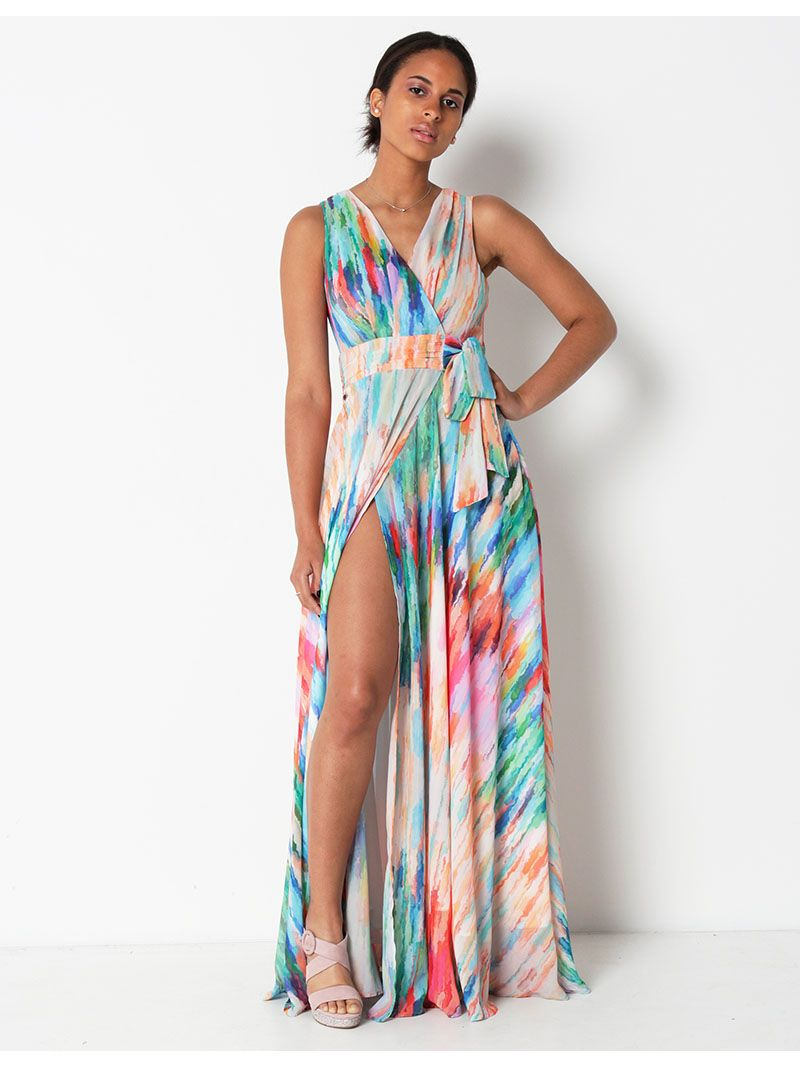 Robe longue cache-coeur effet peinture - multicolore