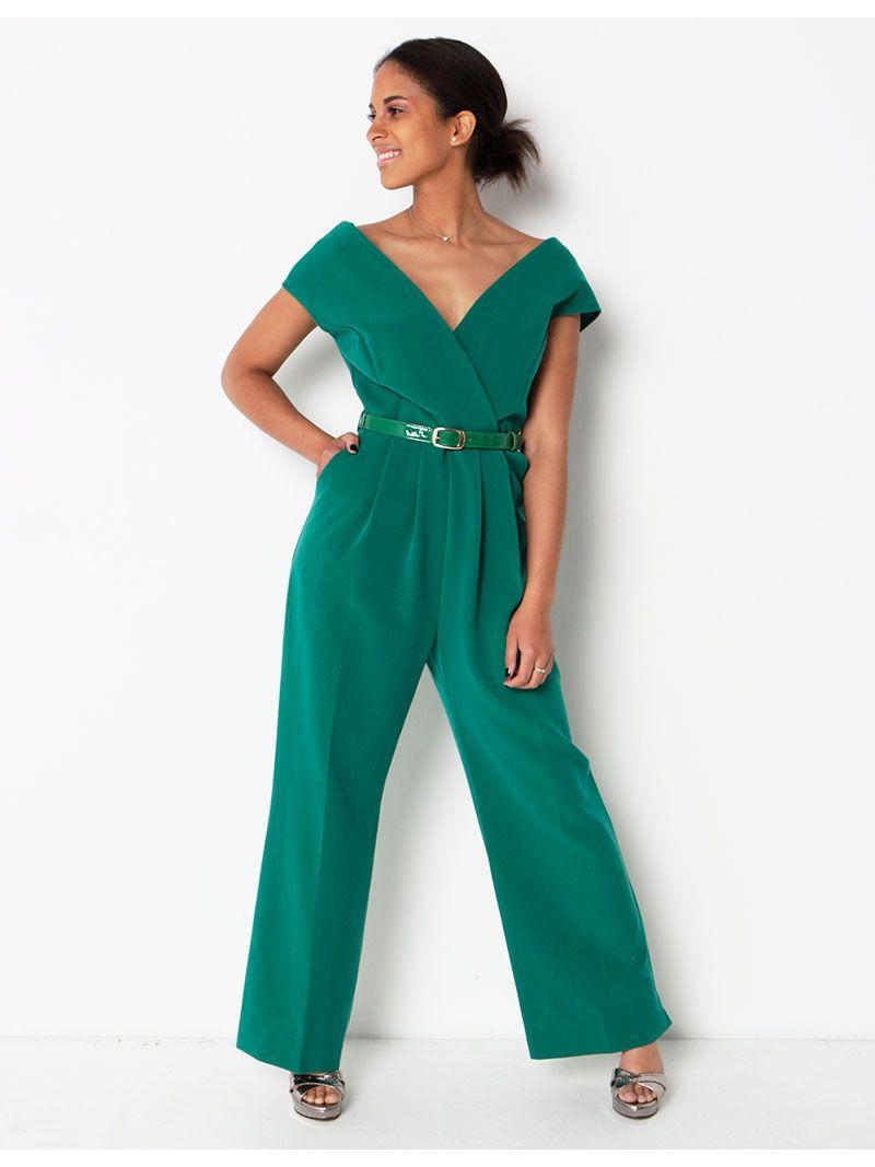 Jumpsuit cache-coeur avec ceinture - vert
