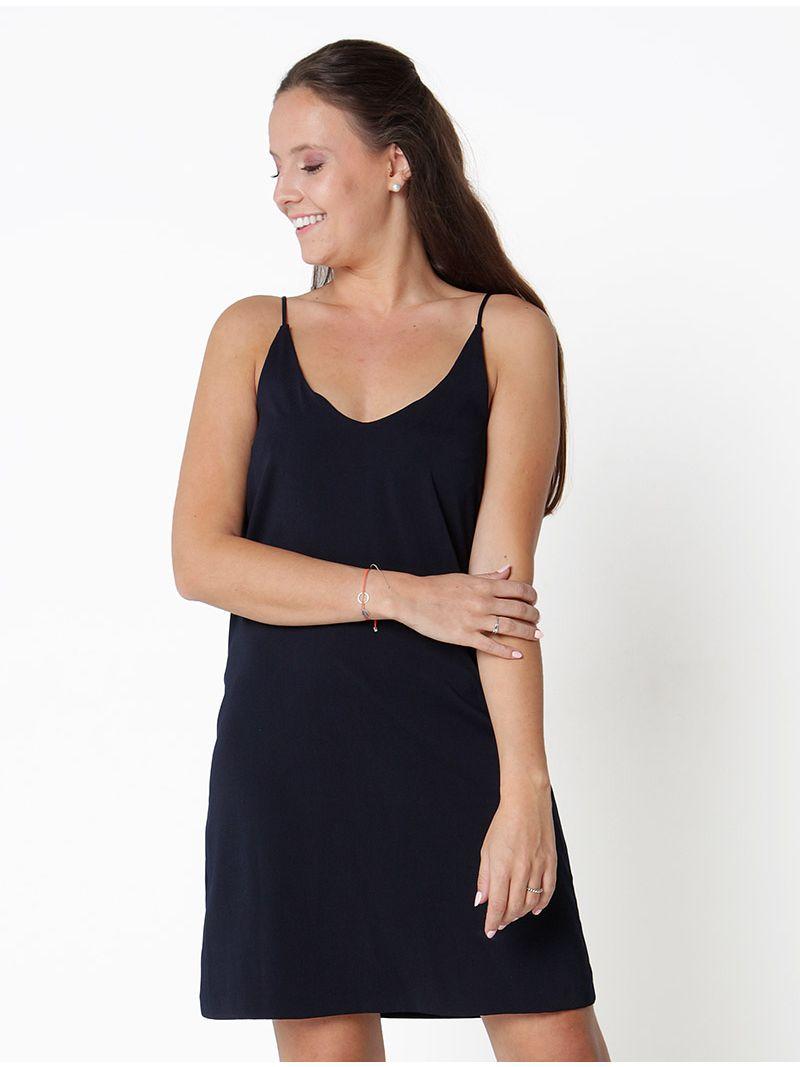 7c943d6acf778f Vloeibare jurk open in de rug - Marine blauw