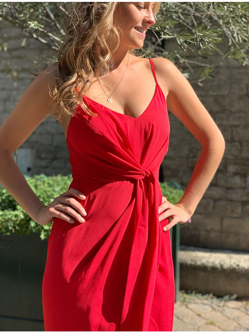 Robe de soirée en soie avec fente - Rouge