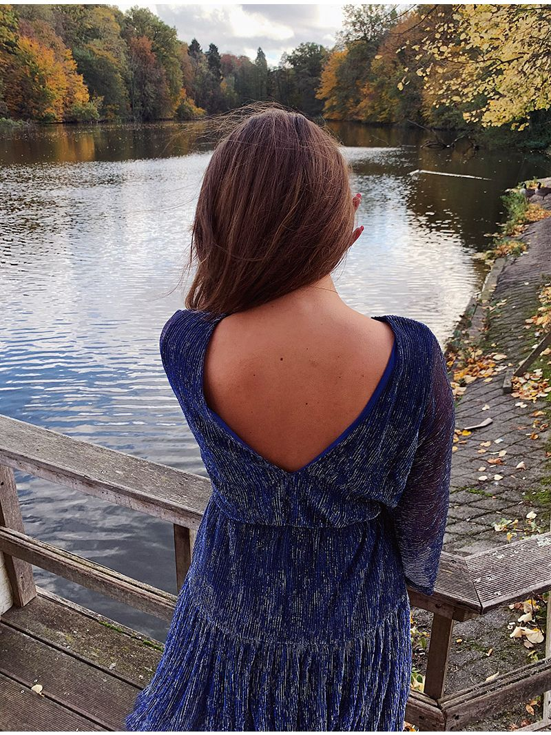 Robe courte manches longues - Bleu