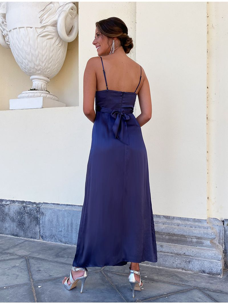 Robe de soirée fendue en soie - Bleu marine
