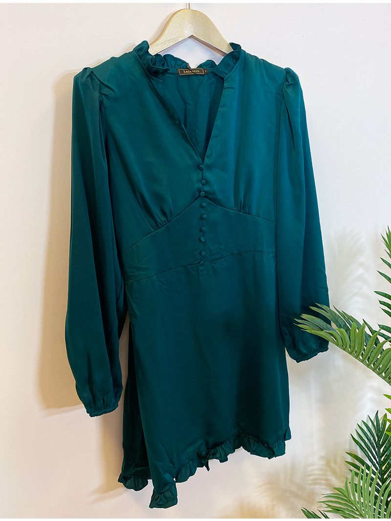 Robe courte manches longues - Vert foncé