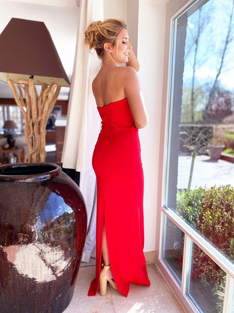 Robe de soirée longue bustier - Rouge
