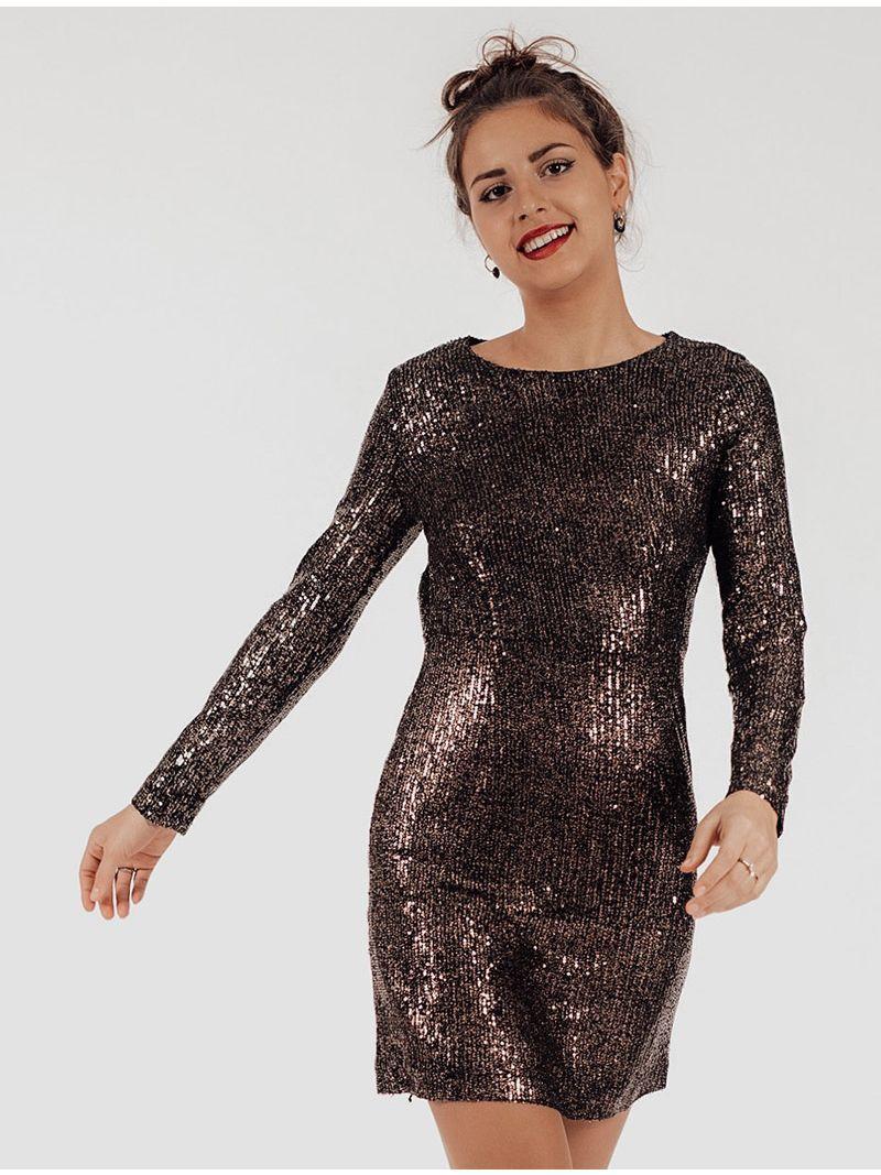 Robe courte manches longues sequins - Bronze
