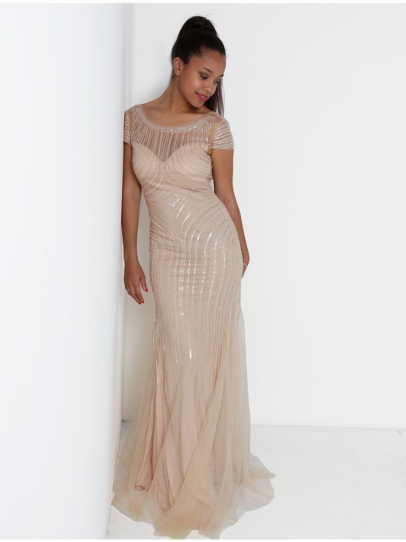 7f896cf2de6297 Lange jurk in pareltulle - licht roze