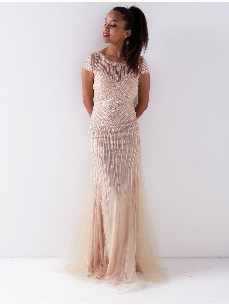 Robe longue en tulle perlée - rose pâle