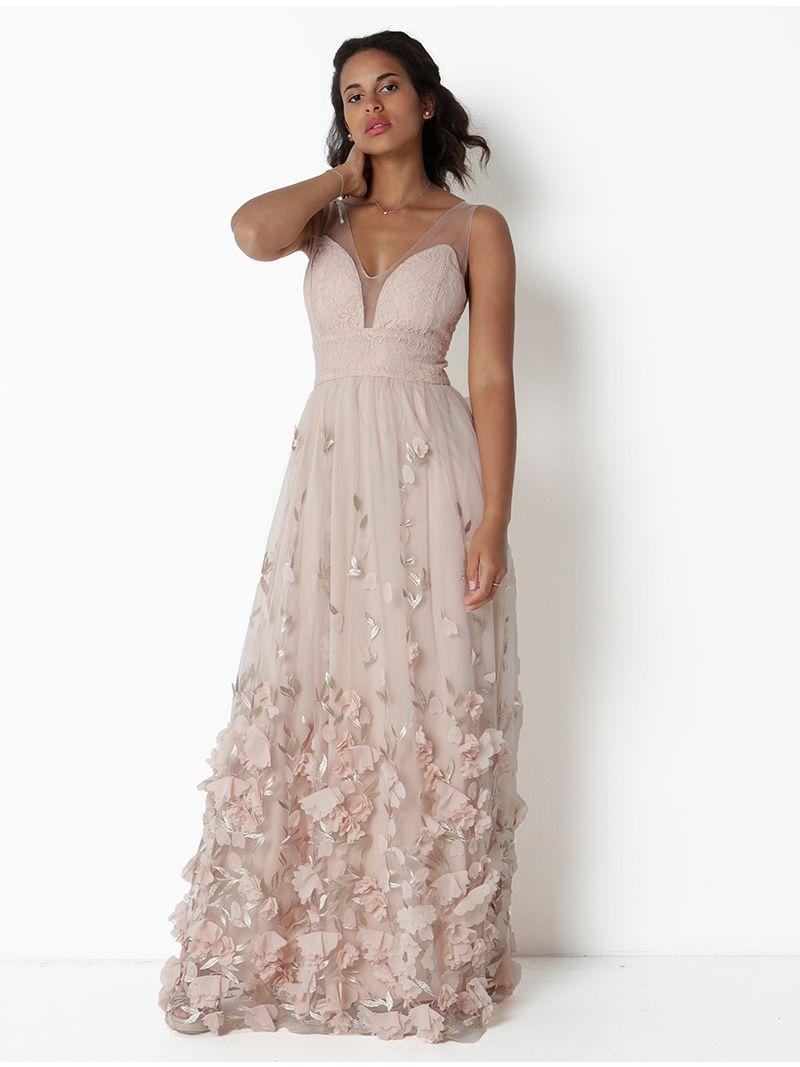 Robe de soirée longue ornée de fleurs - rose pâle