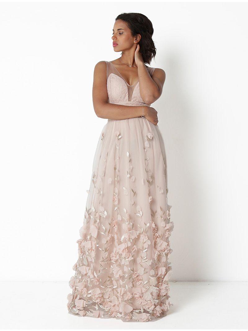 b2ea80902fb Robe de soirée longue ornée de fleurs - rose pâle