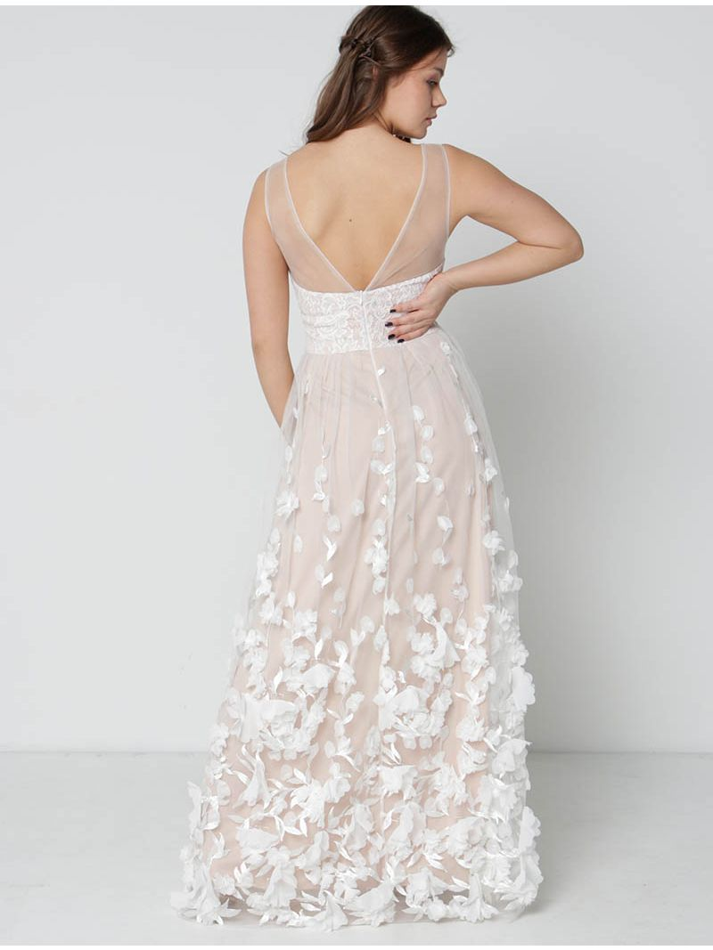 Robe de soirée longue ornée de fleurs - blanc