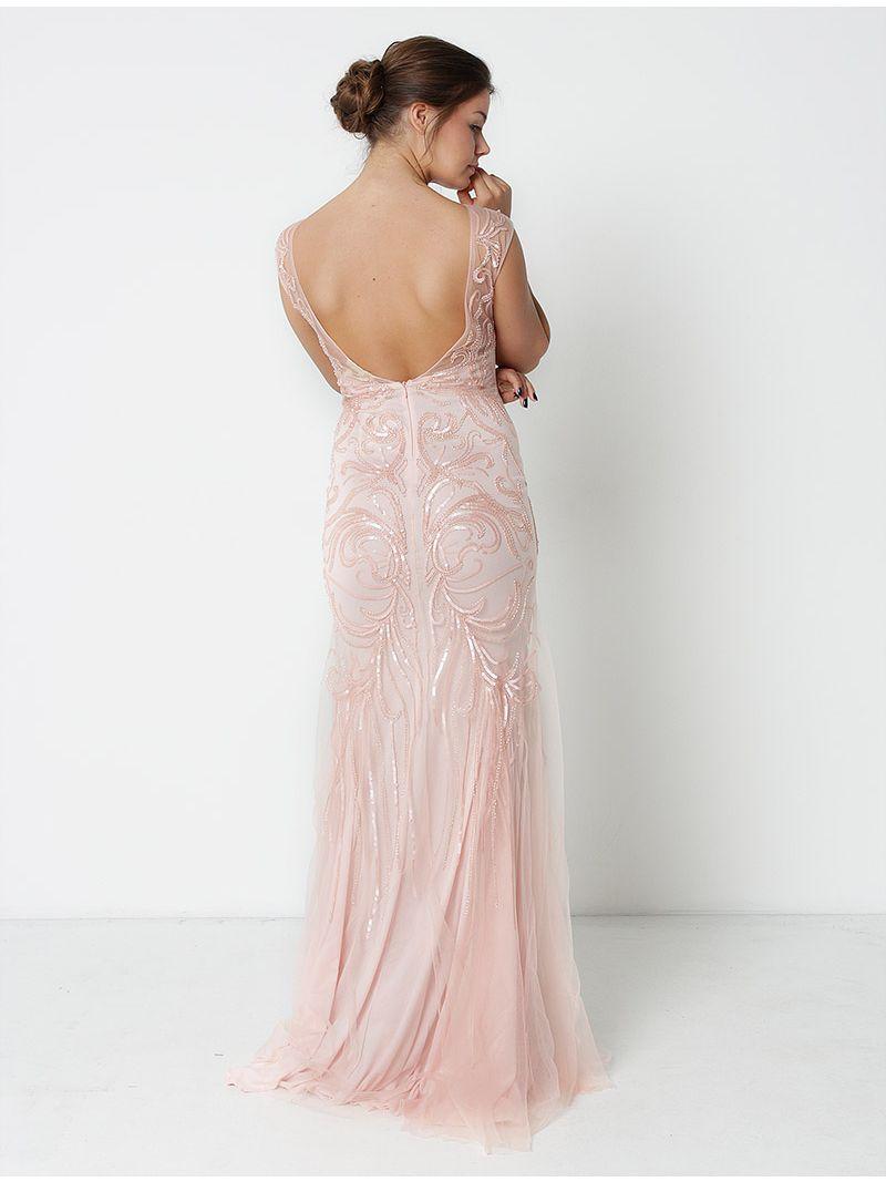 Robe longue perlée en tulle - rose