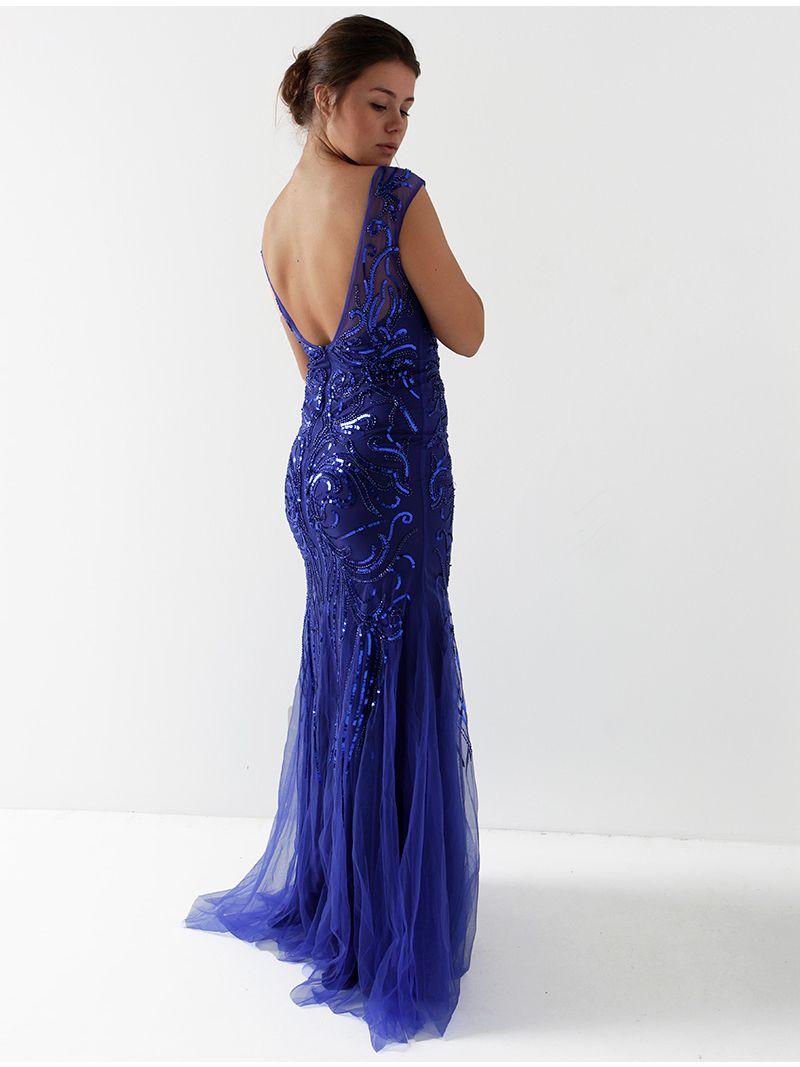 Robe longue en tulle perlée avec motif - bleu