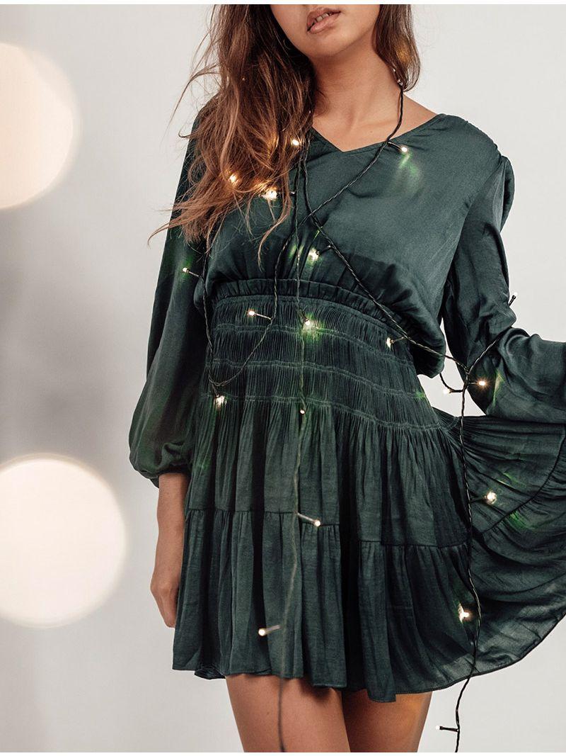 Robe courte manches longues satinée - Vert Sapin