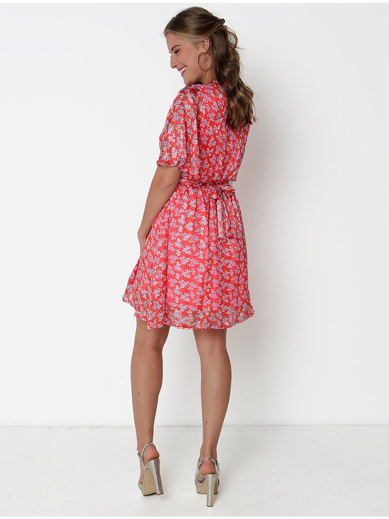 Robe courte fleurie cache-coeur - Rouge