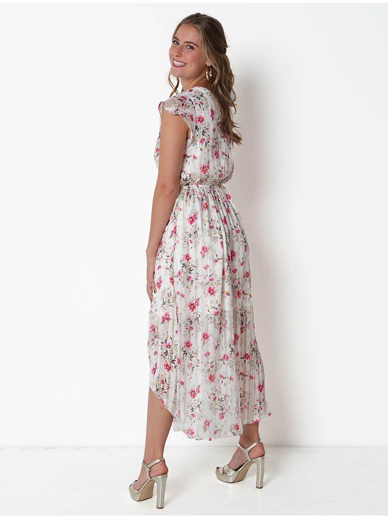 Robe d'été fleurie asymétrique -Blanc