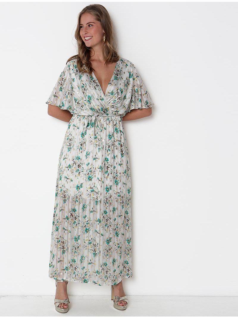 Robe maxi d'été fleurie cache coeur - Blanc