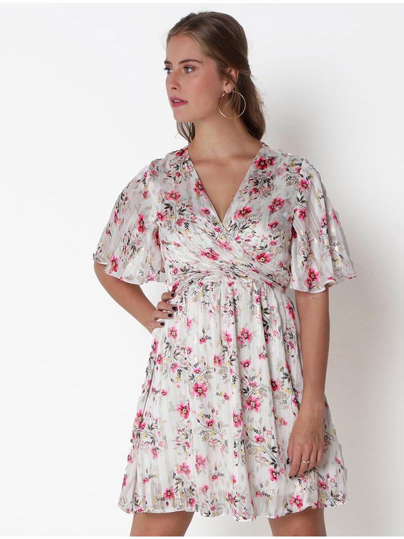 Robe courte fleurie cache-coeur - Blanc