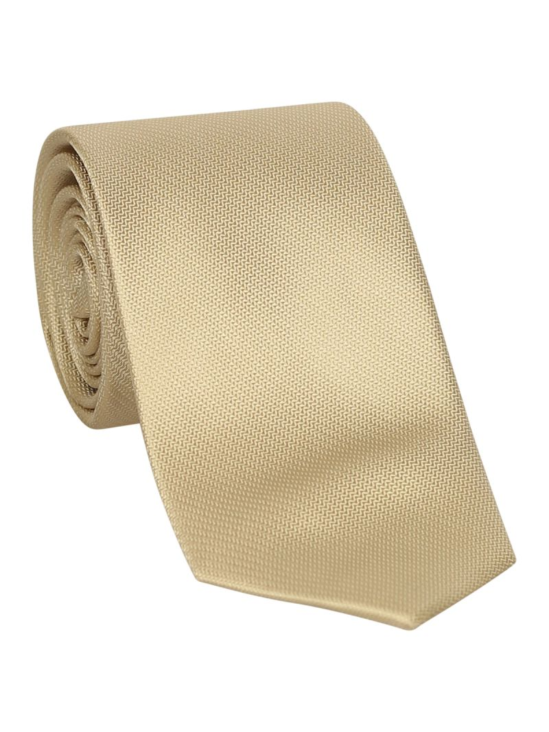 Cravate champagne en soie striée