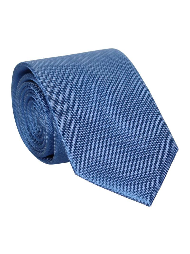 Cravate bleu jean en soie striée