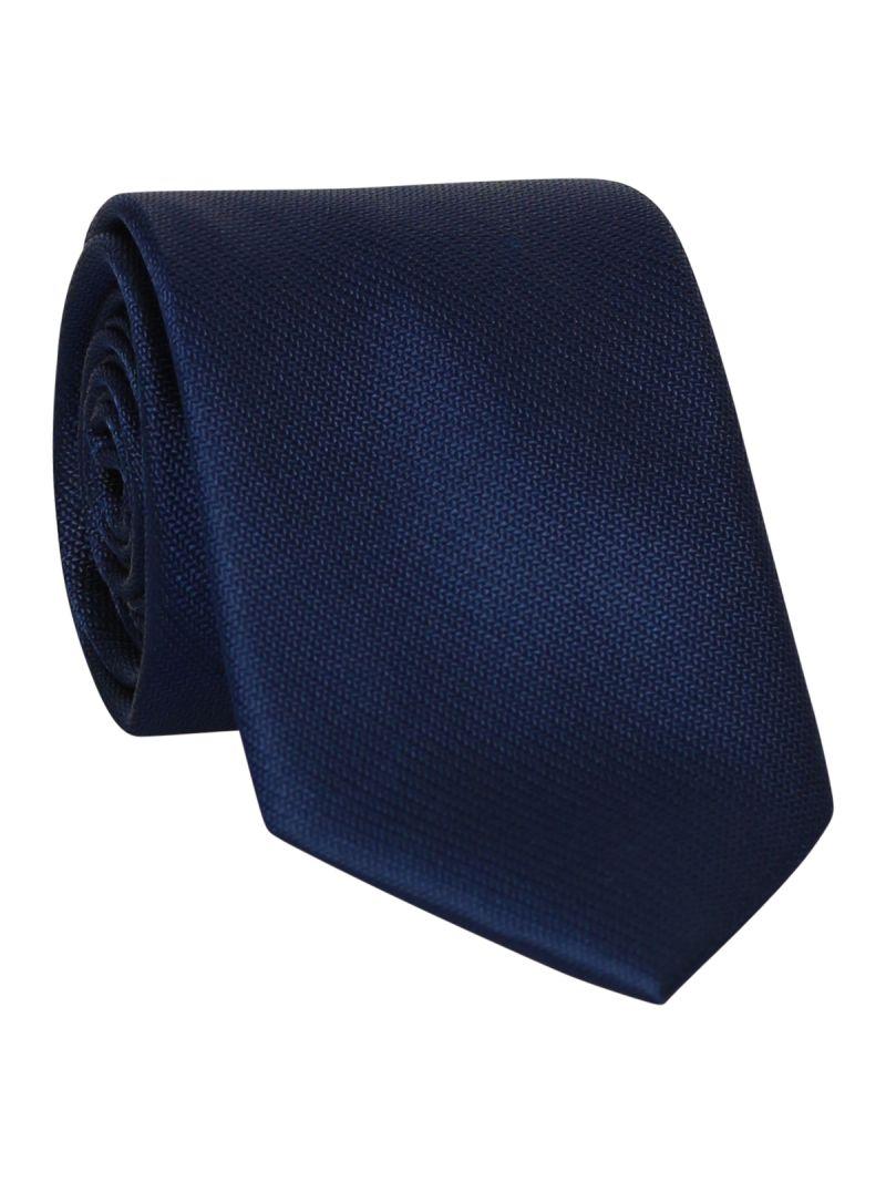 Cravate bleu marine en soie striée