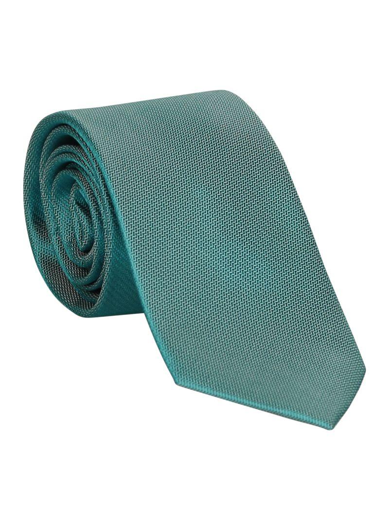 Cravate turquoise en soie striée