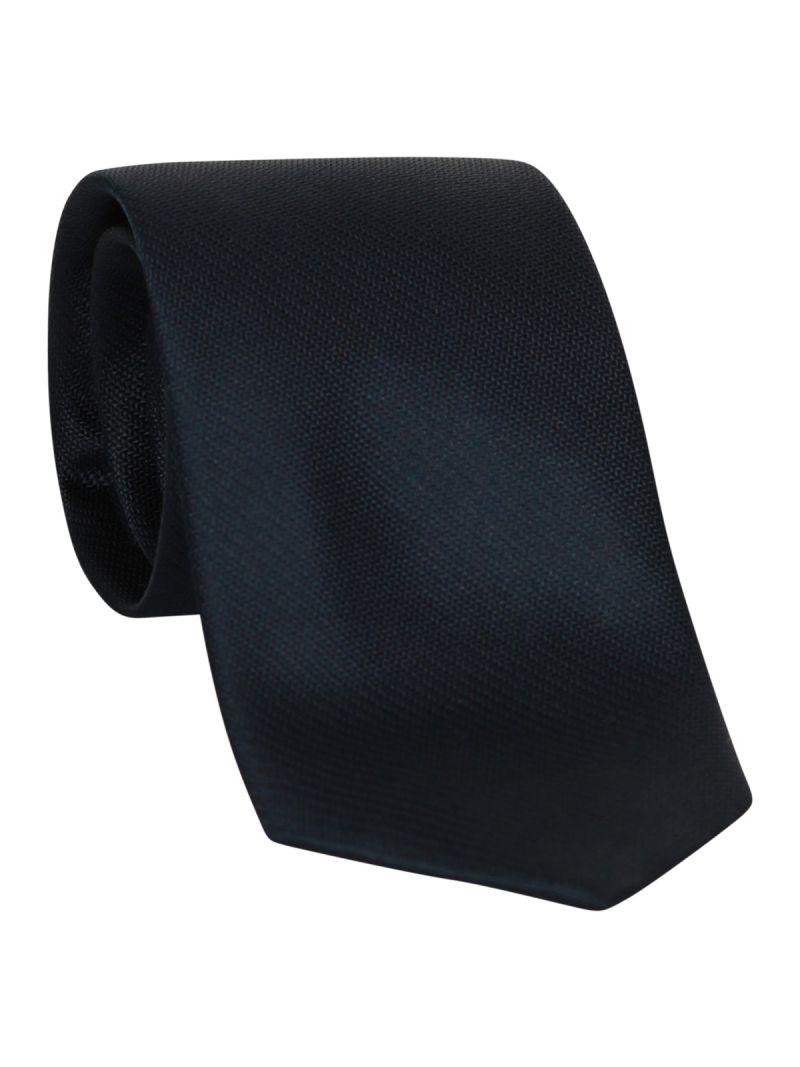 Cravate bleu foncée en soie striée