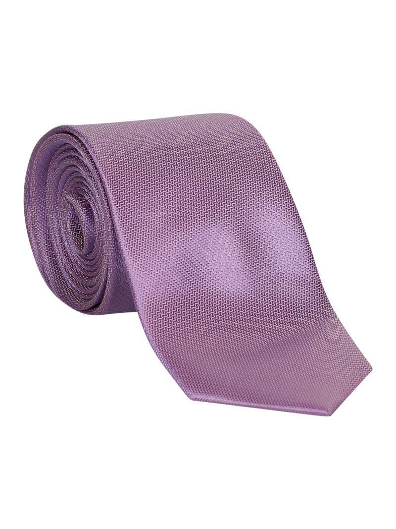 Cravate violette en soie striée