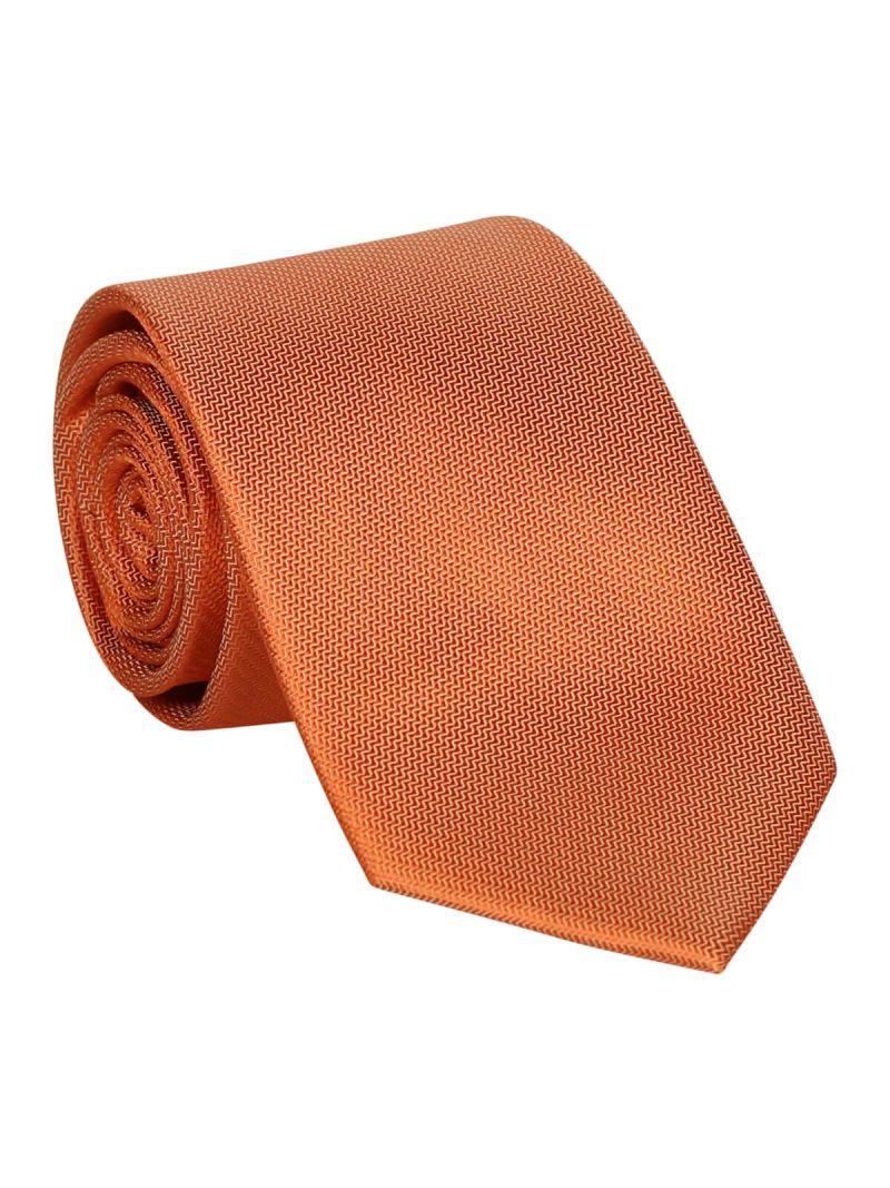 Cravate orange en soie striée