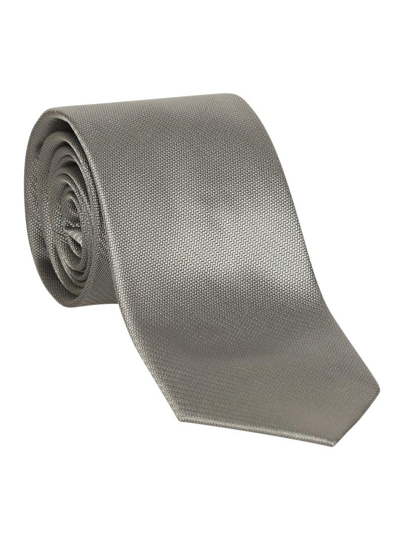 Cravate grise en soie striée