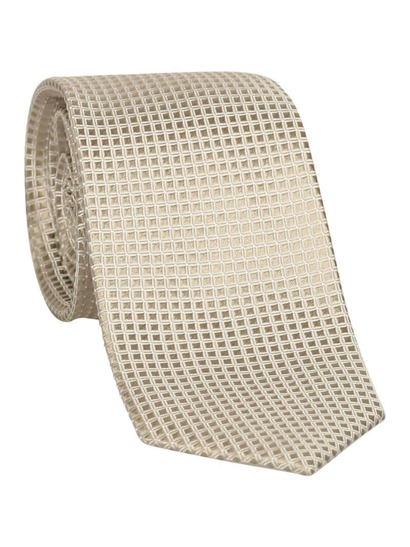 Cravate grise en soie à reliefs en carreau