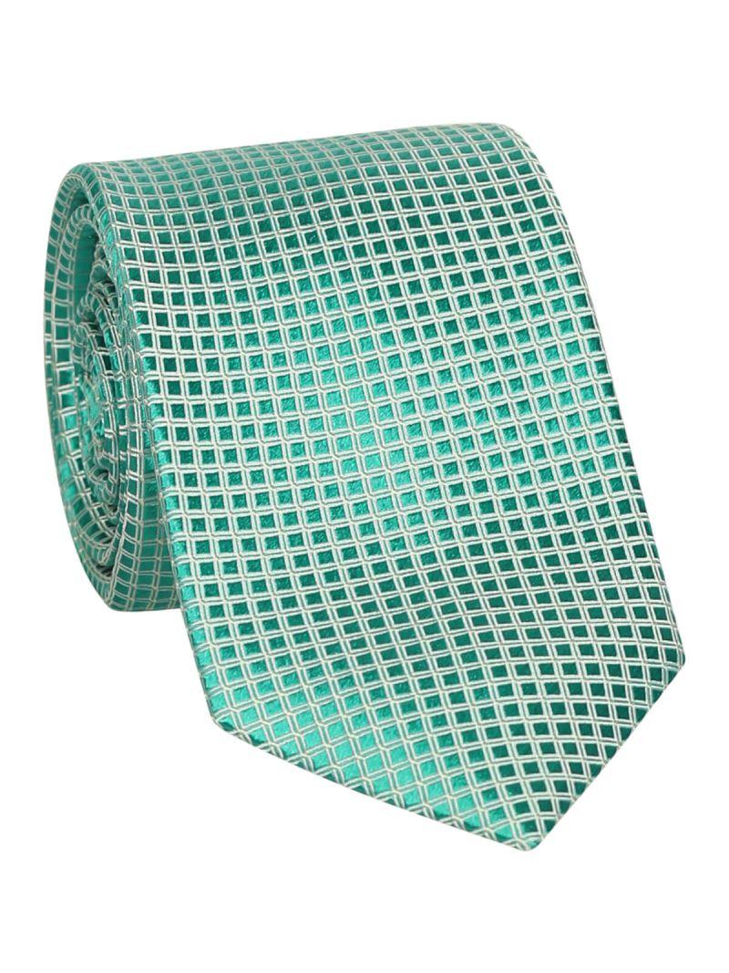 Cravate verte en soie à reliefs en carreau