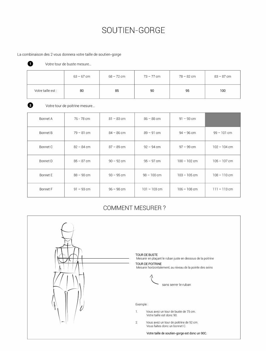 guide des tailles soutien-gorge
