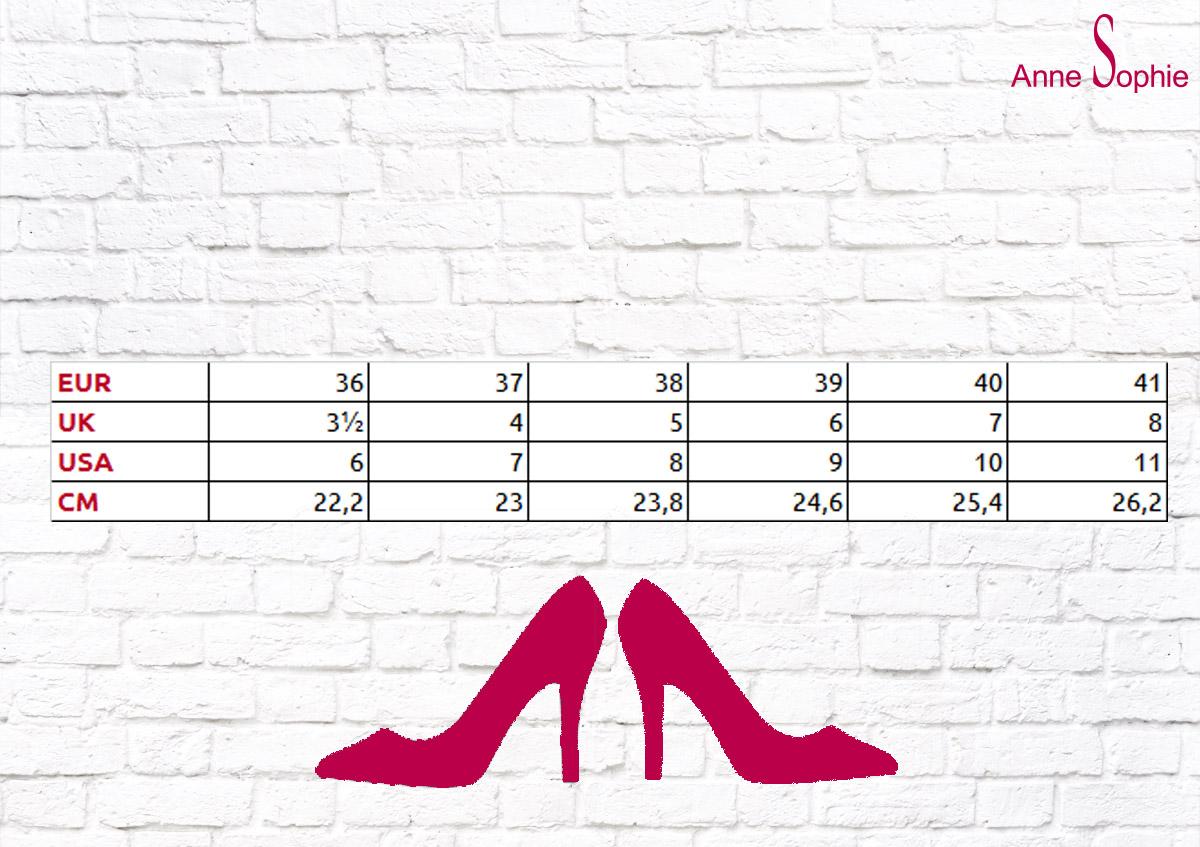 Guide de tailles pour escarpins et sandales